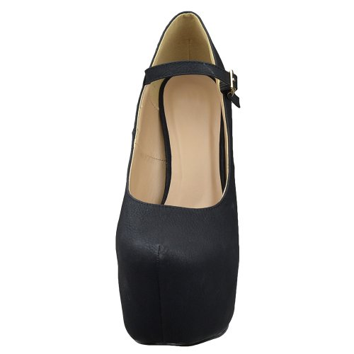 Chaussures Plate-forme Pour Femmes Bride À La Cheville Fermé Orteils Pompes Stiletto Noir Noir