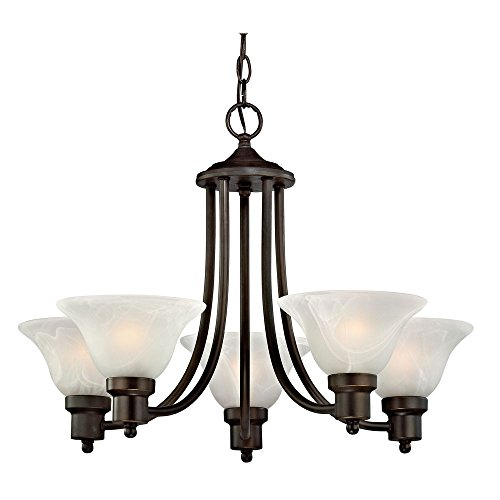 Bronze Chandelier with Alabaster Glass Shades (Bronze Classic Lighting)
