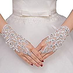 Sunny zeyu Women's Crystals Lace Fingerless Gloves for Wedding Party Brides Accessory White