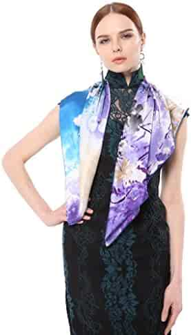 9cdaeea56 Silk Scarfs For Women, Jeelow 100% Pure Silk Scarves Square 36in Mulberry  Or Twill