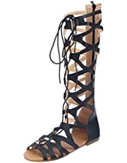 Fullwei Sandals for Women Dressy,Women Flats Knee High Boots Retro Gladiator Strappy Lace Up Roman Open Toe Casual Summer Shoe