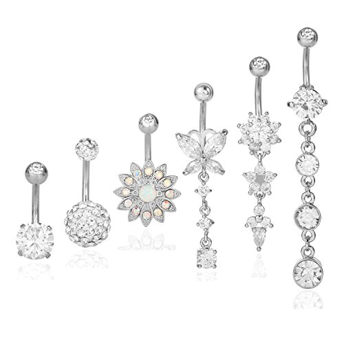 Dangle Navel Butterfly (Ogemluv Stainless Steel Flower Belly Button Rings for Women CZ Navel Rings Dangle 6 PCS Set)