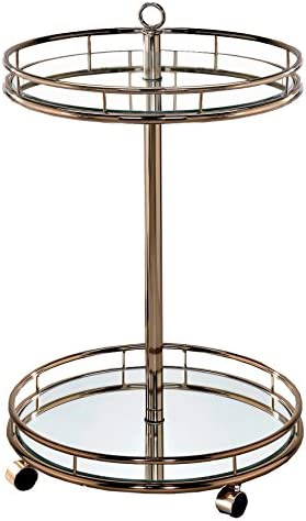 HOMES Inside Out Champagne Dominga Contemporary Serving Cart