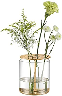 St Lorian Unique Glass Flower Bud Vase Gold Perforated Metal Display Stand Vases With Frog For Home Wedding Centerpieces Decor Gold 4 3x4 3 Amazon Sg Home