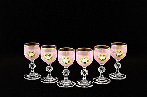 Crystalex 6-pc Bohemia Colored Crystal Vintage Enamel Pink Shot Glasses Set, 24K Gold-Plated, Hand Made ()