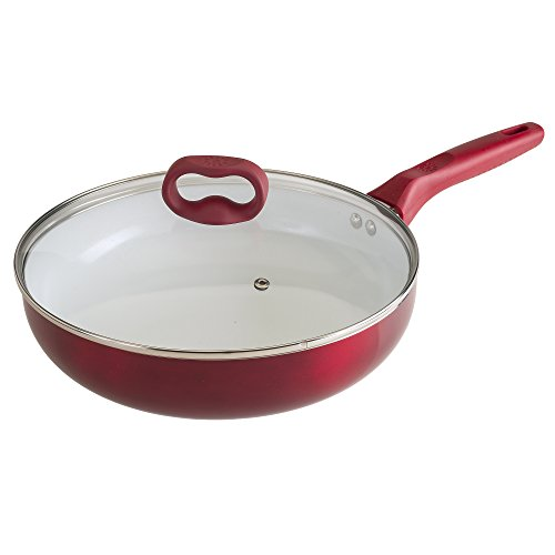 Ecolution Bliss Ceramic Nonstick Deep Cooker Pan with Lid - 4.5 Quart - Induction Stainless Steel Base, Red