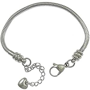 "Stainless Steel Starter Charm Bracelet for Kids Fits European Style Clasp Come with 2 Beads (Lobster Claw 6"" Fits 4-6 year old)"