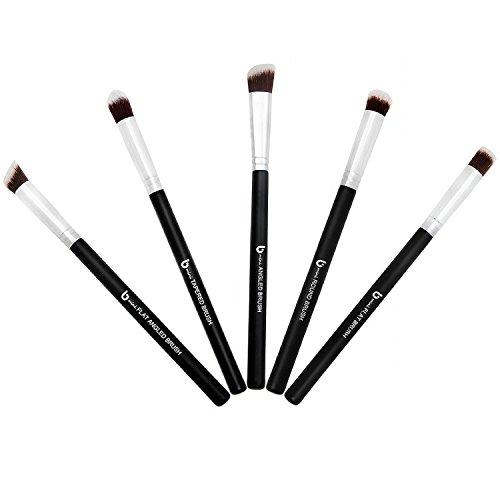 Eyeshadow Kabuki Makeup Brush Set – Best 5 pc Small Eye Shadow Brushes for Professional Blending Smudging Concealer Cream Powder Cosmetics Mini Soft Synthetic Vegan Brochas Para Ojos by Beauty Junkees