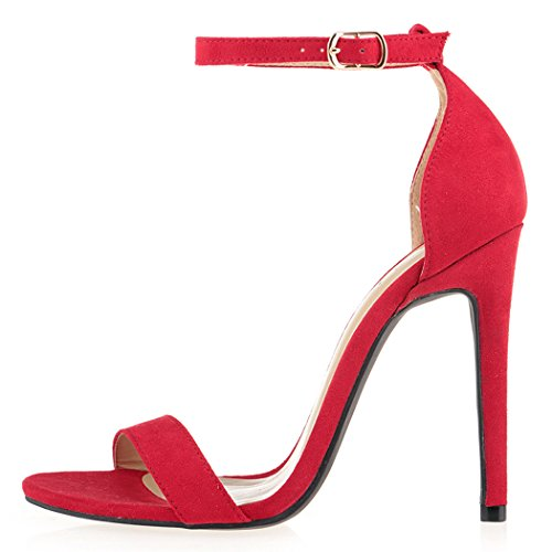 Strap Open Stilettos High Red Toe Ankle ZriEy Velvet Women x5gqWI