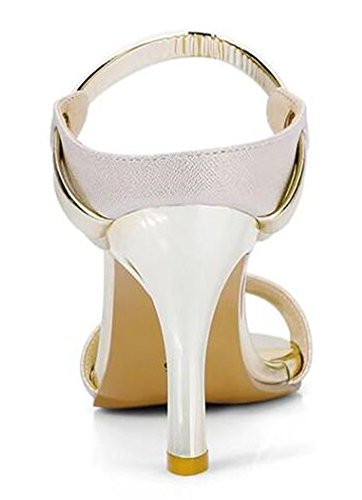 Easemax Womens Sexy Peep Toe OL Work Shoes Kitten Heel Slide Sandals Gold spjd1fxI