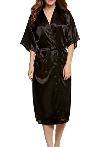 Soie Acvip Homme Peignoir Robe Kimono Bain Femme Noir Nuit De D'imitation Chambre En XavXrw
