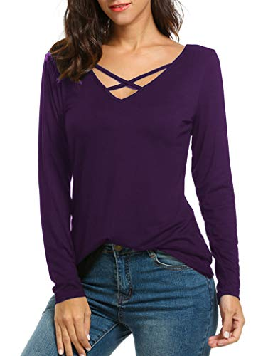 Criss Knit Cross Top (Halife Women's Cross Front Casual Long Sleeve Blouse Tunic Shirt Knit Tops (L, Grape Purple))