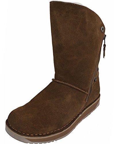 Rubber Sole Biker Ladies Fastening Boots Womens Zip Sheepskin Tan Lambland Genuine z8TZfqq
