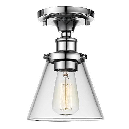 Globe Electric 65726 Mercer 1 Flush Mount Ceiling Light, Clear Glass Shade, Chrome Finish (Dimmer Switch Chrome)