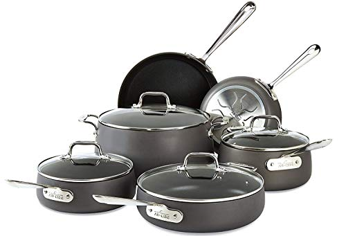 All-Clad E785SC64 Ha1 Hard Anodized Nonstick Dishwasher Safe PFOA Free Cookware Set, 10-Piece, Black