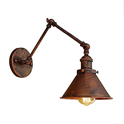 M-zmds Wall Lamps Vintage Industrial Adjustable Wall Light with Edison E27 1-light Wall Sconce, Cone Shade and Swing Arm in Old Copper