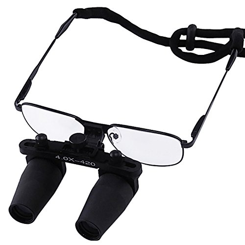 4.0X Magnification Dental Loupes, Prismatic Keplerian Style Nickel Alloy Frame, 40mm Depth of Field+ 65mm Field of View+ 420mm Working Distance Loupe, Flip-Up Flexible Optical Glass Loupe Dentistry