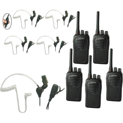 Eartec SC-1000 5-User Two-Way Radio System with 5X SST PTT Lapel Mic Headsets -