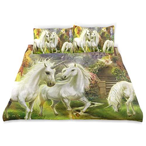"SLHFPX Wonderland Art Greek Myths Unicorn Horse Forest Elves Comforter Cover Quilt Set with 2 Pillowcase Microfiber Soft Twin Size Bed Set 66""x90"" for Girls/Boys/Kids Room Bedding"