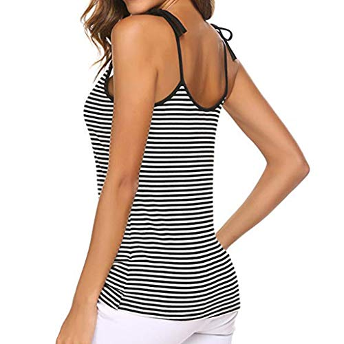 6eb254b123f VANSOON Vest Women's V-Neck Spaghetti Basic Tie Knot Striped Camisoles  Backless Tank Top Casual