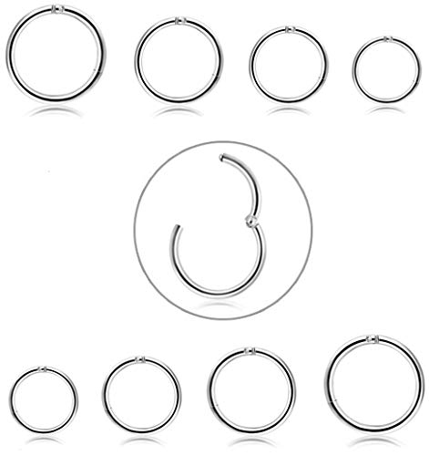 FIBO STEEL 8 Pcs 6-12mm Stainless Steel 16g Cartilage Hoop Earrings for Men Women Nose Ring Helix Septum Couch Daith Lip Tragus Piercing Jewelry Set Silver-Tone