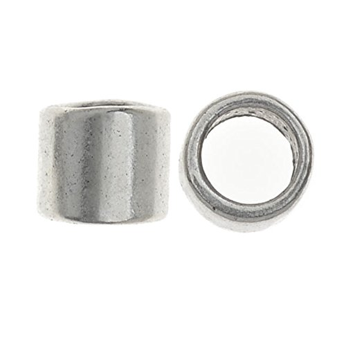 - Lead-Free Pewter Beads, Cylinder Tubes 6x7mm, 10 Pieces, Antiqued Silver