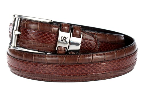 Stacy Adams 6-027 Snake Skin with Leather Embossed Croco and Lizard Mens Leather Belt, Nickel Brushed Buckle (32, Cognac) (Embossed Leather Snakeskin)