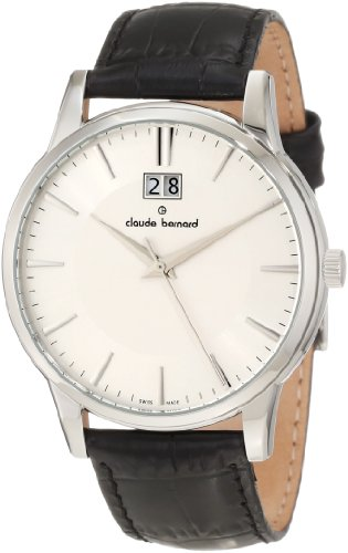 Claude Bernard Men's 63003 3 AIN Classic Gents Silver Dial Black Leather Date Watch