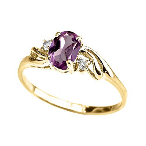 Exquisite 10k Yellow Gold Oval-Shaped June Birthstone with White Topaz 3-Stone Proposal Ring (Size 9)
