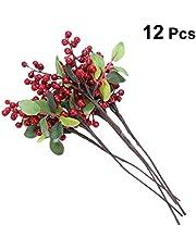 Garneck 12 Piezas de Bayas Rojas Artificiales Fruta Baya Rama de Flores para Guirnaldas de Bricolaje y Adornos Navideños