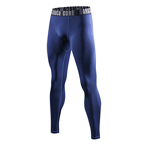 saraca core Men's Boys Compression Pants Youth Sports Leggings Running Tights Cool Dry Keep Warm Winter Base Layer(Color32_Small) Deep Royal Blue ()