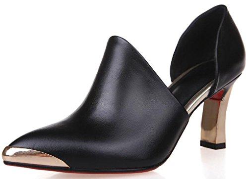 Lizform Mujeres Leather Pump Golden Toe D'orsay Slip On Dress Tacón Grueso Negro