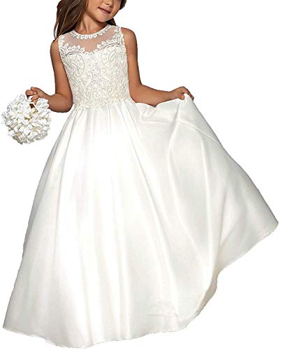 Hengyud First Holy Communion Dresses Lace Flower Girls Dress for Wedding White ()