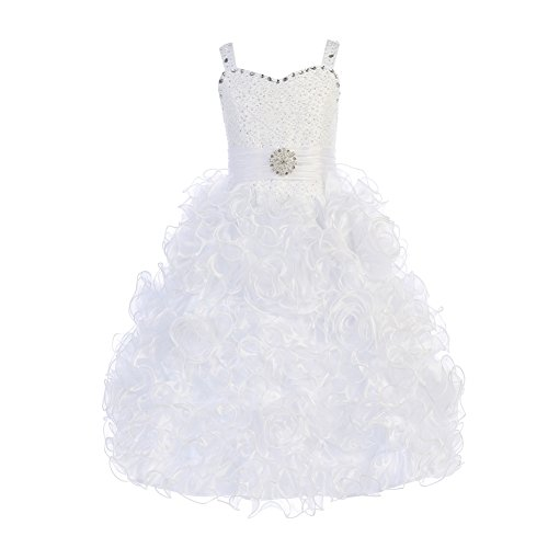 Ruffled Organza Dress with Beaded Bodice and Bolero (8, (White Beaded Bodice)