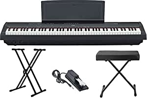 yamaha p115 88 weighted key digital piano bundle with knox double x stand knox. Black Bedroom Furniture Sets. Home Design Ideas