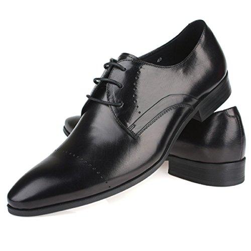 GRRONG Zapatos De Cuero De Los Hombres Traje De Negocios Señalaron Banquete Casual Con Transpirable Black