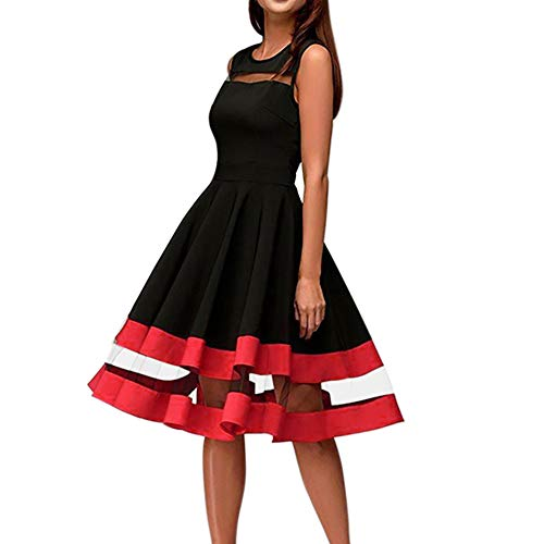 iYBUIA Women Elegant Mesh Patchwork Knee-Length Sexy O-Neck Sleeveless Party Dress -