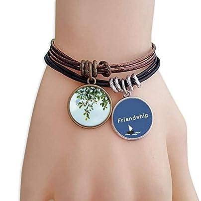 Green Leaves Blue Sky Friendship Bracelet Leather Rope Wristband Couple Set Estimated Price -