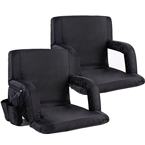 Portable Stadium Seat Chair, Sportneer Reclining Seat for Bleachers with Padded Cushion Shoulder Straps, Black, 2 (Bleacher Seat)