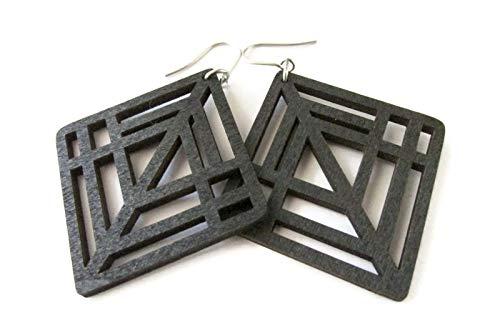 Black Diamond Modern Geometric Wooden Earrings for Women, Laser Cut Jewellery, Gift for Her, Girlfriend -