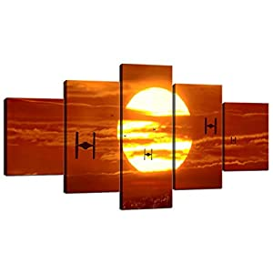 Tie Fighters Sunset Star Wars VII The Force Awakens Modern Canvas Wall Art for Bedroom Living Room Home Decor Wall…