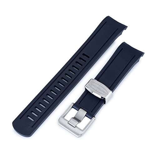 22mm Crafter Blue - Dark Blue Rubber Curved Lug Watch Band for Seiko SKX007