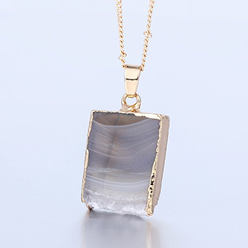 Review Bonnie 24 inch Agate Stone Crystal Pendant Necklace Natural Stone Handmade Jewelry (5)