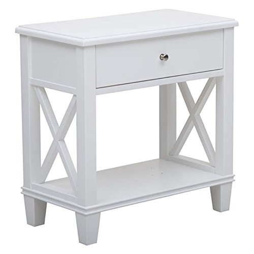 Pemberly Row Open End Table in White Brushed Nickel Metal Accent