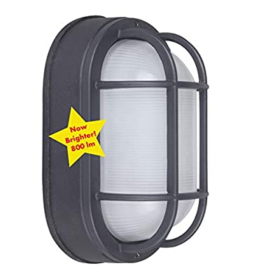 "CORAMDEO Outdoor 8.5"" Oval LED Bulkhead Light, Flush Mount for Wall or Ceiling, Wet Location, 75W (800 lumens) of Light from 10.5W of Power, 3K, Black Cast Aluminum with Frosted Glass Lens"