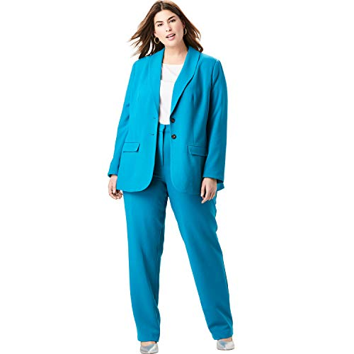 - Jessica London Women's Plus Size Single Breasted Pant Suit - Deep Teal, 30 W