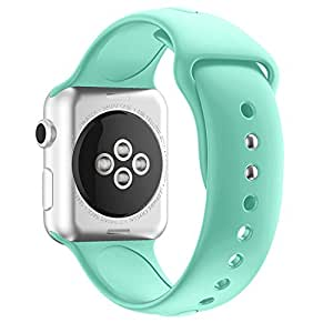Inozama Apple Watch Band, Soft Silicone Sporty Replacement Strap Band for iWatch Apple Watch Series 1 Series 2 Series 3 (38MM S/M Mint Green)