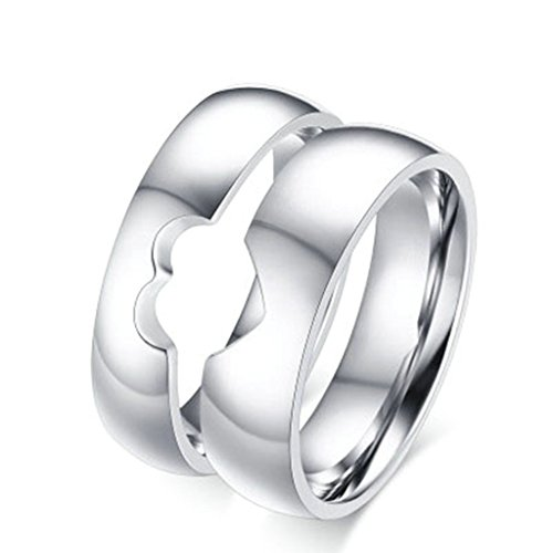 KnBoB Stainlss Steel Engagement Rings Width 6/5MM Puzzle Love Couples Wedding Bands Women US9 & Men US12