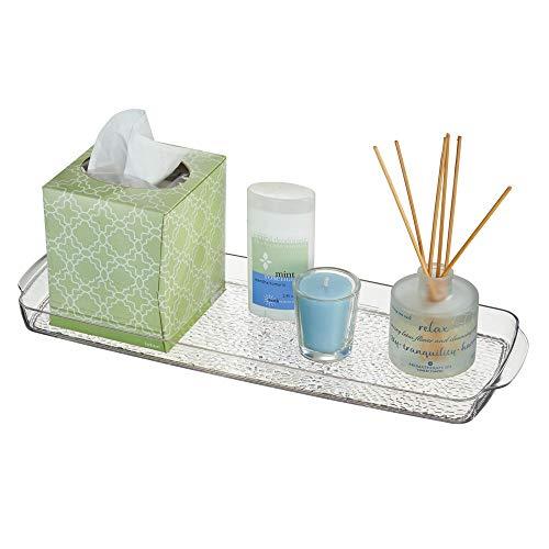 mDesign Long Plastic Bathroom Vanity, Countertop, Toilet Tank