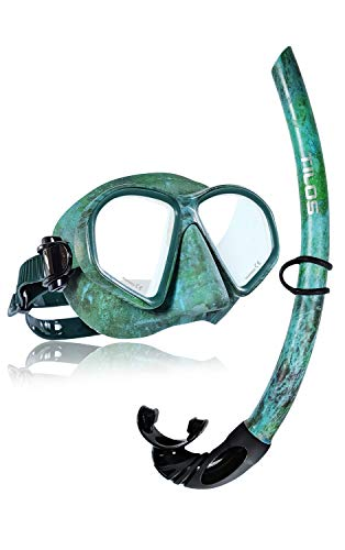 Tilos Spawn Camo Mask Snorkel Set for Spearfishing, Free Diving, Scuba Diving, Snorkeling ... (Green Camo)